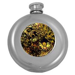 Amazing Neon Flowers B Round Hip Flask (5 Oz)