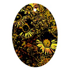 Amazing Neon Flowers B Oval Ornament (two Sides)