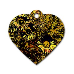 Amazing Neon Flowers B Dog Tag Heart (one Side)