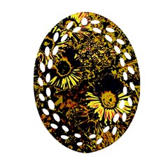 Amazing Neon Flowers B Oval Filigree Ornament (two Sides)