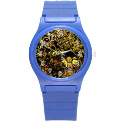 Amazing Neon Flowers B Round Plastic Sport Watch (s)