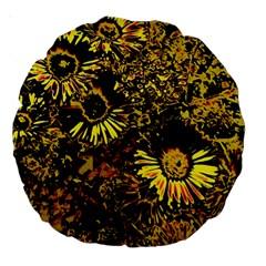 Amazing Neon Flowers B Large 18  Premium Round Cushions