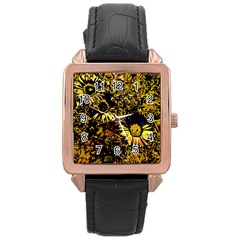 Amazing Neon Flowers B Rose Gold Leather Watch
