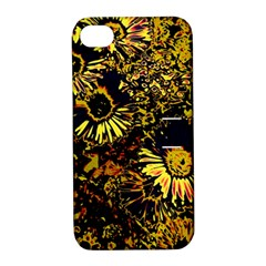 Amazing Neon Flowers B Apple Iphone 4/4s Hardshell Case With Stand