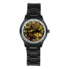 Amazing Neon Flowers B Stainless Steel Round Watch