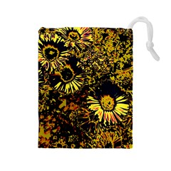 Amazing Neon Flowers B Drawstring Pouches (large)