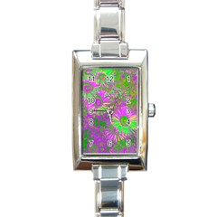 Amazing Neon Flowers A Rectangle Italian Charm Watch
