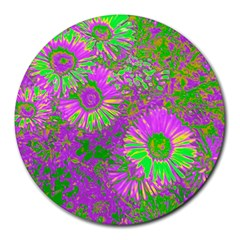 Amazing Neon Flowers A Round Mousepads