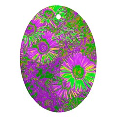 Amazing Neon Flowers A Ornament (oval)