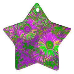 Amazing Neon Flowers A Ornament (star)