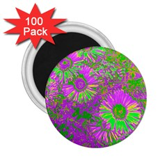 Amazing Neon Flowers A 2 25  Magnets (100 Pack)