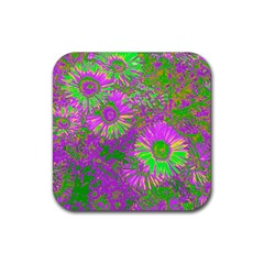 Amazing Neon Flowers A Rubber Coaster (square)