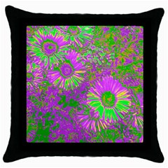 Amazing Neon Flowers A Throw Pillow Case (black)