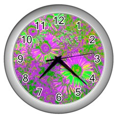 Amazing Neon Flowers A Wall Clocks (silver)