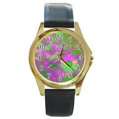 Amazing Neon Flowers A Round Gold Metal Watch