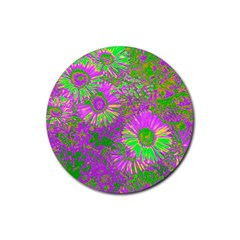 Amazing Neon Flowers A Rubber Round Coaster (4 Pack)