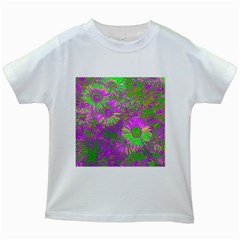 Amazing Neon Flowers A Kids White T Shirts