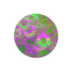 Amazing Neon Flowers A Magnet 3  (round)