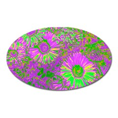 Amazing Neon Flowers A Oval Magnet