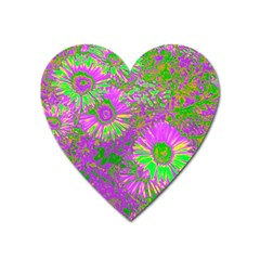 Amazing Neon Flowers A Heart Magnet