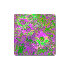 Amazing Neon Flowers A Square Magnet