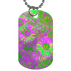 Amazing Neon Flowers A Dog Tag (two Sides)