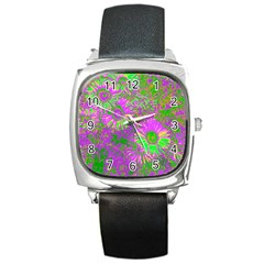 Amazing Neon Flowers A Square Metal Watch