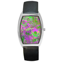 Amazing Neon Flowers A Barrel Style Metal Watch