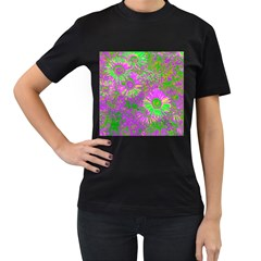 Amazing Neon Flowers A Women s T Shirt (black) (two Sided)