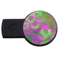 Amazing Neon Flowers A Usb Flash Drive Round (4 Gb)