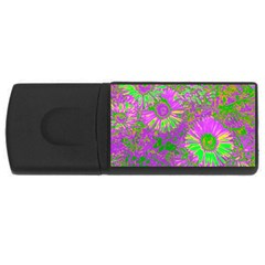 Amazing Neon Flowers A Rectangular Usb Flash Drive