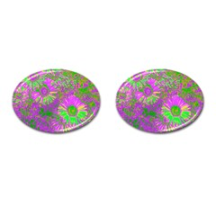 Amazing Neon Flowers A Cufflinks (oval)