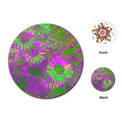 Amazing Neon Flowers A Playing Cards (round)