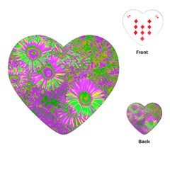 Amazing Neon Flowers A Playing Cards (heart)
