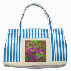 Amazing Neon Flowers A Striped Blue Tote Bag