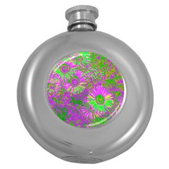 Amazing Neon Flowers A Round Hip Flask (5 Oz)