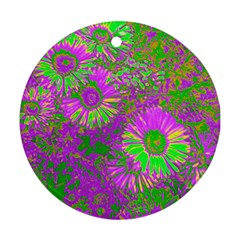 Amazing Neon Flowers A Round Ornament (two Sides)