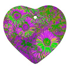 Amazing Neon Flowers A Heart Ornament (two Sides)