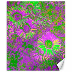 Amazing Neon Flowers A Canvas 8  X 10