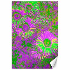 Amazing Neon Flowers A Canvas 12  X 18