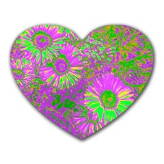 Amazing Neon Flowers A Heart Mousepads