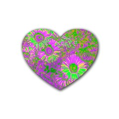 Amazing Neon Flowers A Heart Coaster (4 Pack)