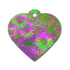Amazing Neon Flowers A Dog Tag Heart (two Sides)