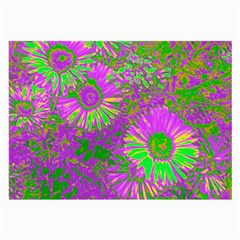 Amazing Neon Flowers A Large Glasses Cloth (2 Side)