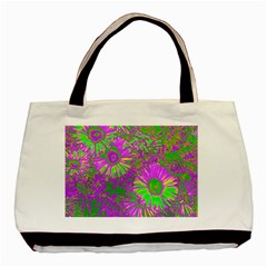 Amazing Neon Flowers A Basic Tote Bag (two Sides)