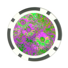 Amazing Neon Flowers A Poker Chip Card Guard