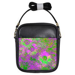 Amazing Neon Flowers A Girls Sling Bags