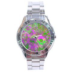Amazing Neon Flowers A Stainless Steel Analogue Watch