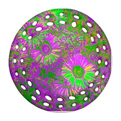 Amazing Neon Flowers A Ornament (round Filigree)