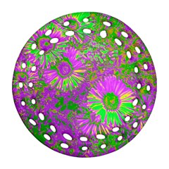 Amazing Neon Flowers A Round Filigree Ornament (two Sides)